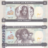 Bancnota Eritrea 1 si 5 Nafka 1997 - P1-2 UNC ( set 2 bancnote ) - bancnota africa
