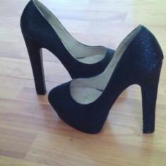 Pantofi cu toc - Pantof dama, Culoare: Negru, Marime: 35