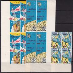 Dubai 1964 cosmos MI 157-159B blocuri de 4 MNH w45 - Timbre straine, Nestampilat