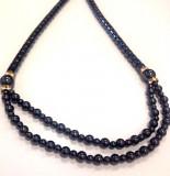 Colier vintage negru TERAPEUTIC cu pietre semipretioase HEMATIT- lant / lantisor