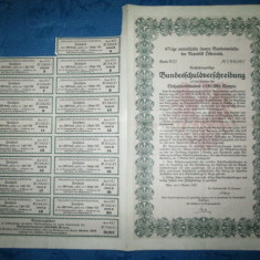 Obligatiune 100 000 Koroane-Viena Austria 1922 Banca Germaniei. Stare FB.
