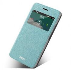 Husa Flip Cu Fereastra Si Stand ZTE Grand S II S91 Mofi Originala Albastru Deschis - Husa Telefon