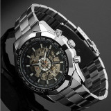 Ceas MILITAR SPORT DELUXE/FASHION WINNER FULL AUTOMATIC 2 Tachymetru Black Negru - Ceas barbatesc, Casual, Mecanic-Automatic, Inox, Data