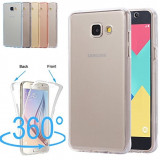 Husa silicon 360° fata + spate Samsung  A3 2017 / A5 2017 / A7 2018 / A8 2018, Samsung Galaxy A5, Albastru, Auriu, Gri, Roz, Transparent