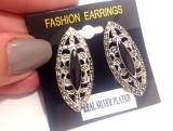 Cercei negri model clips- placati cu argint TIBETAN VINTAGE ol-vintage type