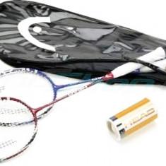 Rachete badminton 2 buc cu 2 fluturasi pene geanta transport