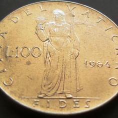 Moneda 100 Lire - VATICAN, anul 1964 *cod 180 xF - - -mai raruta - - -, Europa
