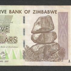 ZIMBABWE 5 DOLARI DOLLARS 2007 [17] P-66 - bancnota africa