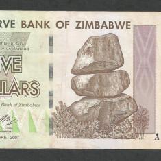 ZIMBABWE 5 DOLARI DOLLARS 2007 [13] P-66, VF - bancnota africa