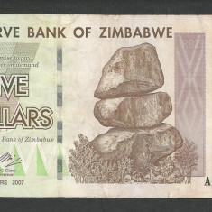 ZIMBABWE 5 DOLARI DOLLARS 2007 [14] P-66 - bancnota africa