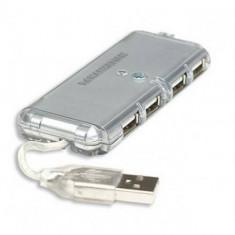 Hub USB Manhattan cu 4 porturi argintiu
