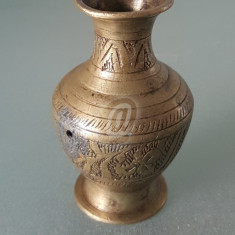 Vaza mica din cupru masiv, gravata, 6.5 cm - Arta din Metal