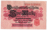 Germania bancnota 2 MARK MARCI 1914 VF nuanta ROZ DESCHIS