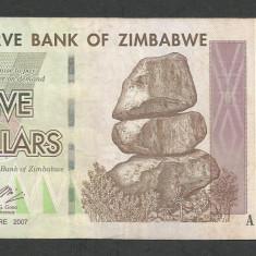 ZIMBABWE 5 DOLARI DOLLARS 2007 [15] P-66 - bancnota africa