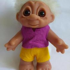 Papusa Troll (pitic, trol), cauciuc, 18cm, par alb, original Danez (Denmark)
