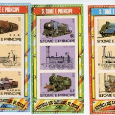 Sao Tome, trenuri, locomotive, 1982, 3 blocuri, MNH** - Timbre straine, Nestampilat