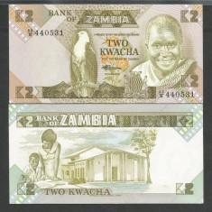 ZAMBIA 2 KWACHA 1980 1988 ND UNC [1] P-24c, necirculata - bancnota africa
