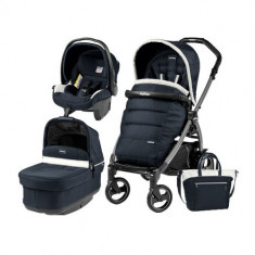 Carucior 3 in1 Book Plus S Black POP-UP Elite Luxe Blue - Carucior copii 3 in 1 Peg Perego