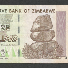 ZIMBABWE 5 DOLARI DOLLARS 2007 [16] P-66 - bancnota africa