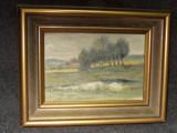 Pictura in ulei un tablou de mai mici dimensiuni,28 cm cu 18, Peisaje, Realism