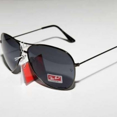 Ochelari de soare Ray ban Rayban Aviator Sticla Negru Negri, Unisex, Pilot, Metal, Protectie UV 100%