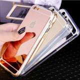 Husa telefon oglinda pentru Iphone 5 / 5S / SE / 6 / 6S / 7, iPhone 5/5S/SE, Negru, Gel TPU