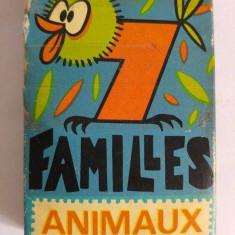 Joc de carti, vechi, vintage, 7 Familles Animaux, instructiuni in franceza,