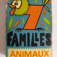 Joc de carti, vechi, vintage, 7 Familles Animaux, instructiuni in franceza, - Joc board game