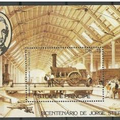 Sao Tome, trenuri, 1982, bloc, MNH** - Timbre straine, Nestampilat