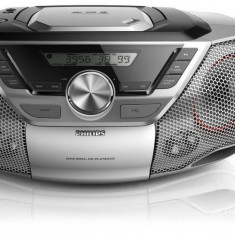 Radio CD Player Philips Soundmachine AZ783 12W USB Tuner Digital FM MP3 WMA LineIn LineOut Telecomanda Argintiu
