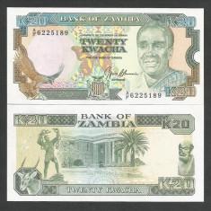 ZAMBIA 20 KWACHA ND 1989 1991 UNC [1] P-32b, necirculata - bancnota africa