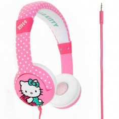 Casti Licensed Hello Kitty Junior Pink, Casti On Ear, Cu fir, Mufa 3, 5mm