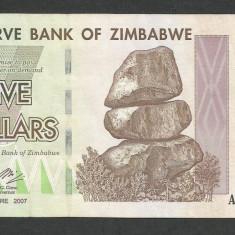 ZIMBABWE 5 DOLARI DOLLARS 2007 [8] P-66, XF - bancnota africa