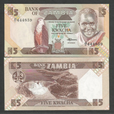 ZAMBIA 5 KWACHA 1980 1988 ND UNC [1] P-25d, necirculata - bancnota africa
