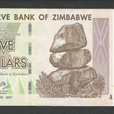 ZIMBABWE 5 DOLARI DOLLARS 2007 [5] P-66, XF+ - bancnota africa