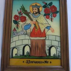 Icoana veche din 1982, pictura pe sticla, S. Johannes v NP, rama lemn, 25x31cm - Icoana pe sticla