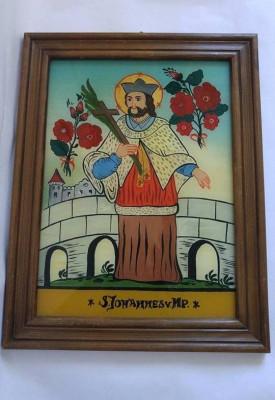 Icoana veche din 1982, pictura pe sticla,S. Johannes v NP, rama lemn, 25x31cm foto
