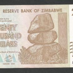 ZIMBABWE 20000 20.000 DOLARI DOLLARS 2008 [3] P-73a, XF+ - bancnota africa