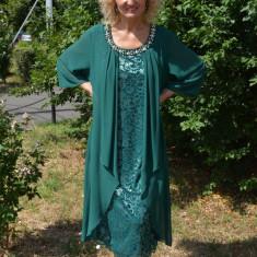 Rochie de ocazie din dantela si voal aplicat, culoare verde - Rochie de seara