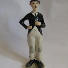 Statueta portelan bibelou romanesc CERO Cluj Napoca, Charlie Chaplin, 18cm