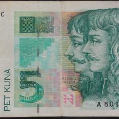 Bancnota 5 Kuna - CROATIA, anul 1993 *cod 520 vF - bancnota europa