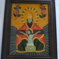 Icoana veche, pictura pe sticla, Sfanta Treime: Tatal, Fiul si Sfantul Duh - Icoana pe sticla
