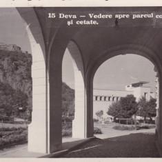DEVA VEDERE SPRE PARCUL COMUNAL SI CETATE FOTOFILM CLUJ CIRCULATA 1937 - Carte Postala Transilvania dupa 1918, Fotografie