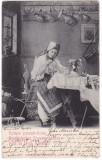 #2123 - Romania, carte postala circulata 1904: Folklor, taranca din Sebes, Fotografie