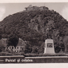 DEVA PARCUL SI CETATEA FOTO LEONAR - Carte Postala Transilvania dupa 1918, Necirculata, Fotografie