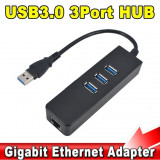 Adaptor USB - RJ45 + 3 porturi USB 3.0 placa de retea GIGABIT 10/100/1000 Mbps