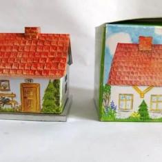 Suport de lumanare casuta de metal/tabla, cu cutie, 7cm, decor casa