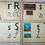 Planse didactice cu litere din alfabet, anii '80, vechi, vintage, colectie