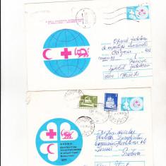 Bnk ip Lot 2 intreguri postale 1977 - circulate - Crucea Rosie, Dupa 1950