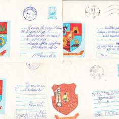 Bnk ip Lot 12 intreguri postale - circulate - Steme de judete, Dupa 1950